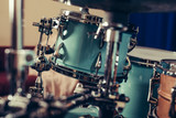 Detail of a drum kit closeup . Drums on stage retro vintage picture.