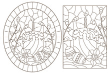 Set Of Contour Illustrations Of Stained Glass Windows For The Easter Holiday, Still Life With Cakes, Eggs And Willow, Dark Outlines On A White Background