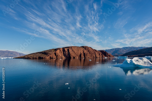 Beautiful landscape with iceberg in Greenland at summer time Wallpaper Mural