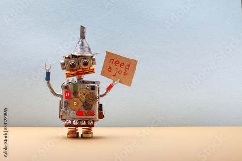 Fotomural Dismissed robot wants to get a job and looking for an employer