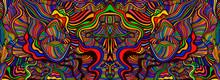 Psychedelic Mirror Abstract Maze Of Wavy Ornaments, Rainbow Multicolor Texture.