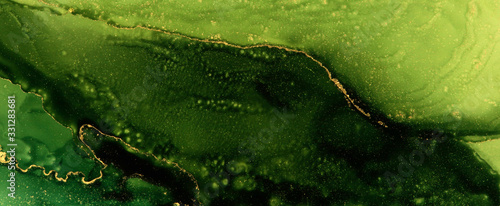 Abstract green wave blots background. Alcohol ink colors. Marble texture.
