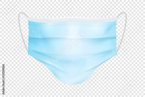 Vector 3d Realistic Blank Disposable Breathing Respiratory Medical Hospital Pollution Protect Face Mask Closeup Isolated. China Coronavirus Quarantine. 2019-nCoV, COVID-2019 concept