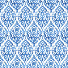 Blue And White Damask Seamless...