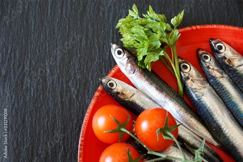 Photo Anchovies on the plate