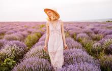 Elegant Lady In Lavender Field