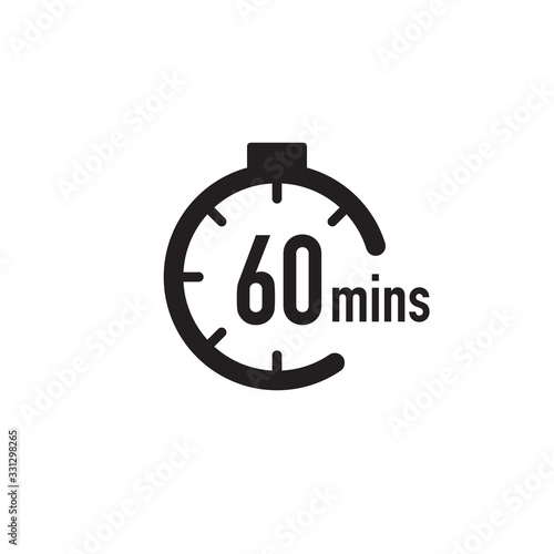 60 minutes timer, stopwatch or countdown icon Poster Mural XXL