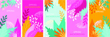 Vector Bright Banners With Lea...