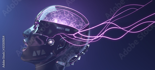 Photo Female cyborg face with pink neon lines, futuristic robotic art, 3d render