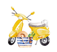 Watercolor Hand Painted Retro Hipster Scooter With Beach Bag Fashion Illustration Isolated On White Background