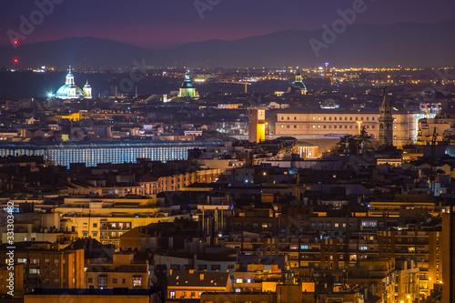 Fototapeta Cityscape of Madrid from Cerro del Tio Pio. Madrid, Spain obraz na płótnie