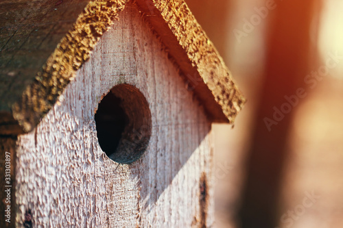Photo birdhouse with yellow flare hanging on a tree in the forest