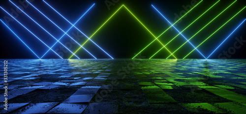 Photo Cosmic Sci Fi Futuristic Pantone Blue Green Neon Modern Laser Grunge Rough Cemen