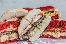 Powerful Burgers With Juicy Cutlets, Fresh Vegetables And Crispy Buns.