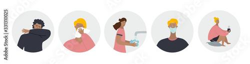 Obraz People wash hands, wearing face mask, sneeze cough - fototapety do salonu