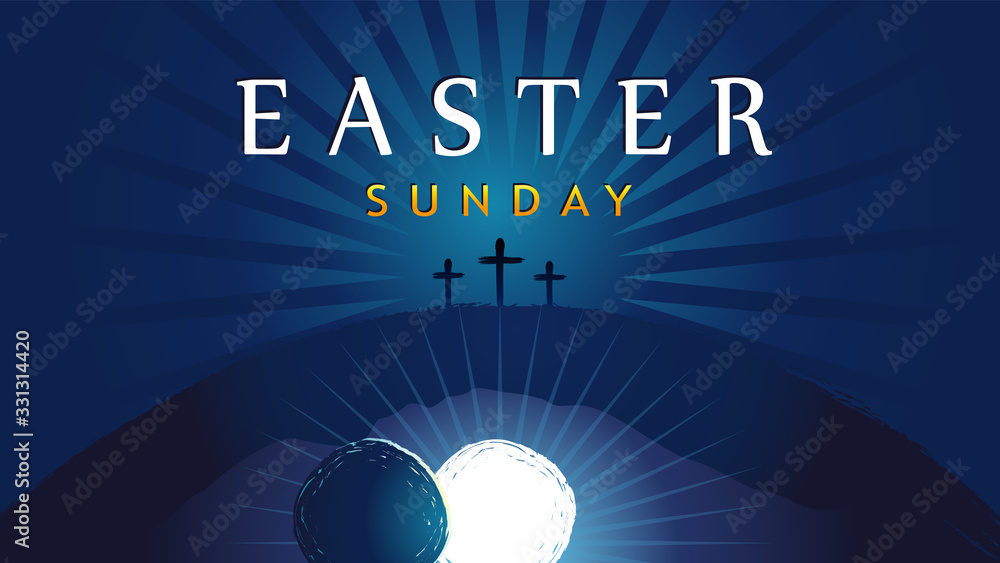 Fototapeta Easter Sunday - He is risen, tomb and three crosses. Easter invitation for service holy week with typography on blue beams background. Cross, Calvary and text. Vector illustration