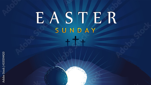 Fototapeta Easter Sunday - He is risen, tomb and three crosses. Easter invitation for service holy week with typography on blue beams background. Cross, Calvary and text. Vector illustration obraz