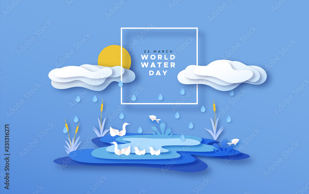 Fototapeta World water day papercut lake landscape concept
