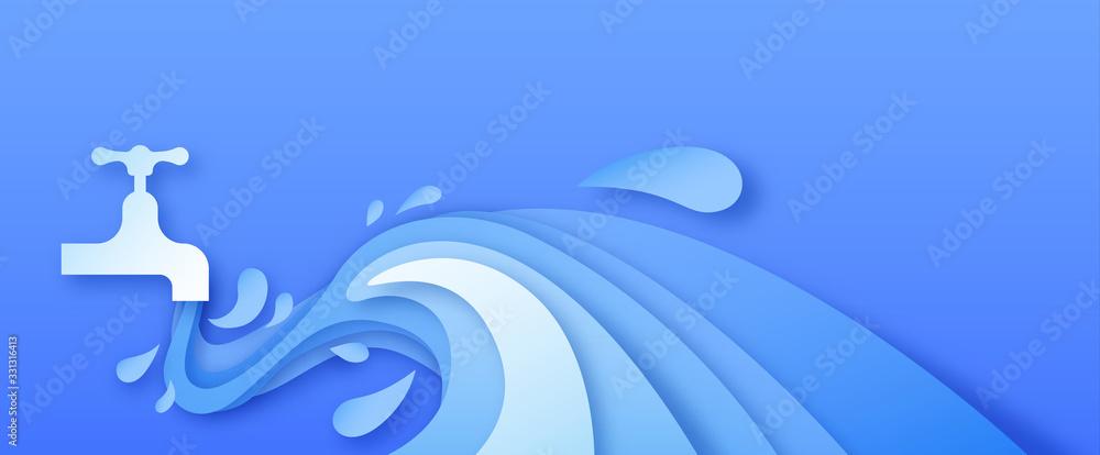 Fototapeta Tap water flow in blue papercut background