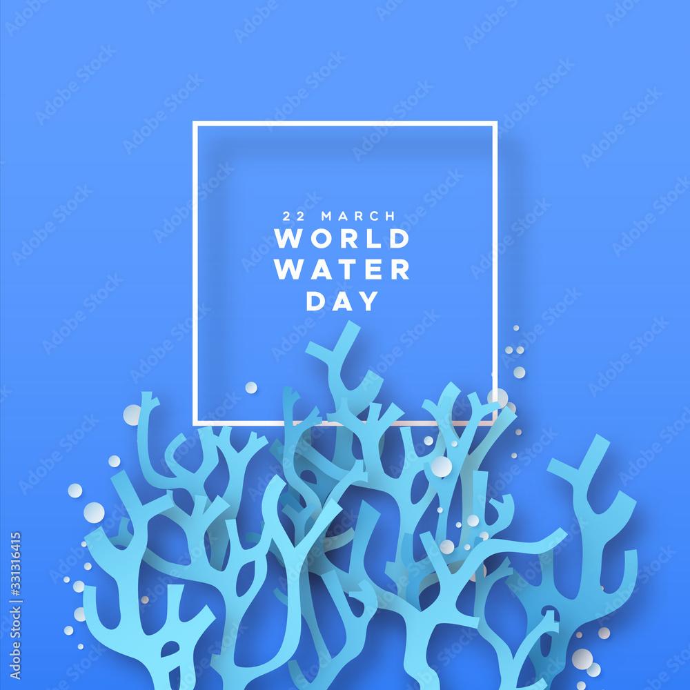 Fototapeta World water day paper cut coral reef underwater
