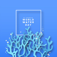 World Water Day Paper Cut Cora...