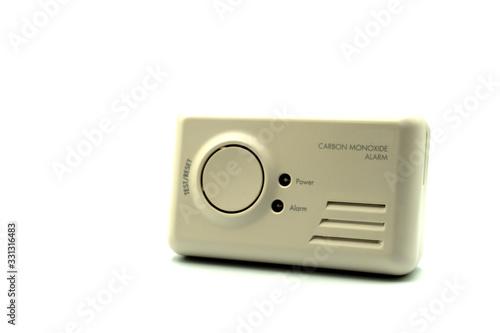 Photo A home carbon monoxide alarm or carbon monoxide detector isolated on a white bac