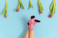 Children's Legs In Funny Socks...