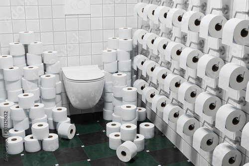 Fototapeta 3d render: Concept Hoarding of Toilet paper because of corona crisis or other events