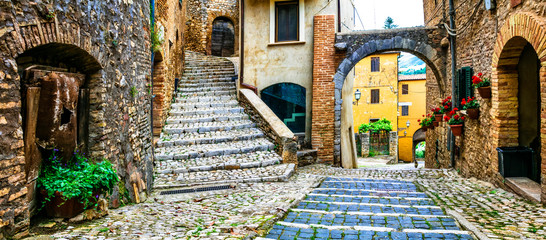 Traditional medieval villages of Italy - picturesque old floral streets of Casperia, Rieti province