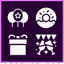 Set Of 4 Birthday Filled Icons
