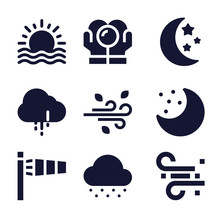 Set Of 9 Weather Filled Icons