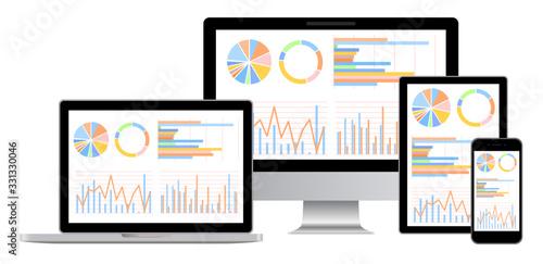 Photo グラフ資料をモニターに表示したデスクトップ・ノートパソコン・スマホ・タブレットセット白背景