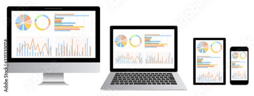 Obraz グラフ資料をモニターに表示したデスクトップ・ノートパソコン・スマホ・タブレットセット白背景 - fototapety do salonu