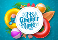 Summer Time Vector Banner Template. It's Summer Time Typography In White Circle Space For Text With Beach Elements Like Floater, Surfboard, Beach Ball And Palm Leaves In Blue Pattern Background.