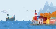 Boat Arriving To Scandinavian Seaside Town, Vector Illustration. Cute Houses, Autumn Hill And Mountains. People On Promenade Greeting Passengers, Cartoon Character In Nordic Town. Lighthouse, Seagulls