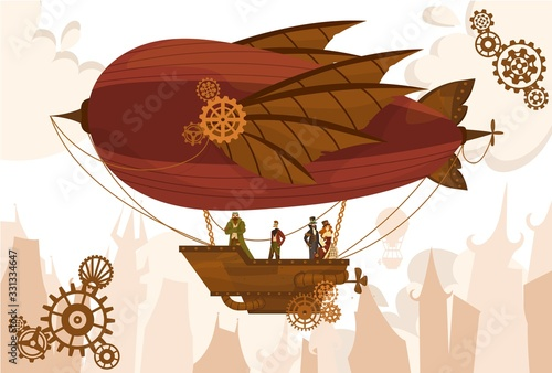Lerretsbilde Team characters on balloon, steampunk airship, flat vector illustration