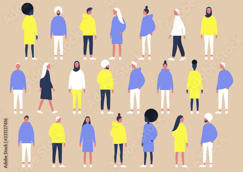 Fototapeta A collection of diverse characters of different gender and ethnicities, flat vector set of people obraz