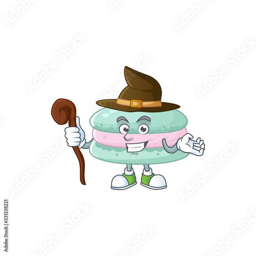 Valokuvatapetti sweet and tricky Witch vanilla blue macarons cartoon character
