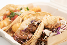 Mexican Take Out Street Food Pork And Fish Tacos