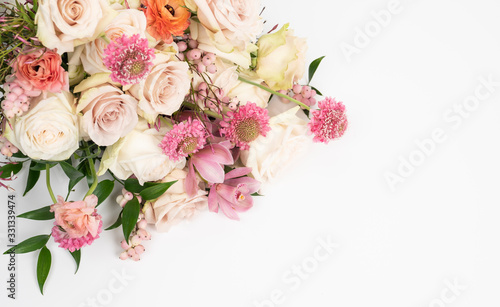 beautiful fresh rose floral flat lay floral background
