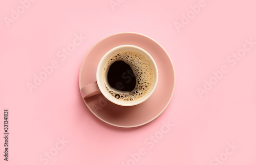 Fotografie, Obraz Cup of hot coffee on color background