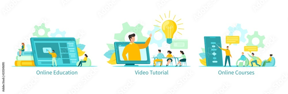 Fototapeta Online education vector illustration, learning people students with tutorials, courses set. Educational programs remotely by internet using computer, phone, tablet. Video lectures, online school