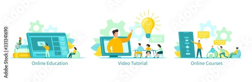 Online education vector illustration, learning people students with tutorials, courses set. Educational programs remotely by internet using computer, phone, tablet. Video lectures, online school