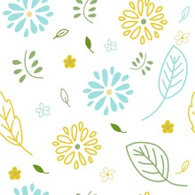 Seamless Floral Leaf Vector Pattern. Cute Mint Yellow Green Flowers And Branches For Wallpaper Textile Fabric Designs. Elegant Vector Illustrations In Hand Drawn Style.
