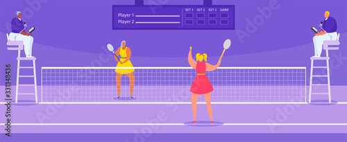 Obraz Tennis championship players athletes with tennis racket and judges, sport tournament vector illustration. Big professional tennis sportive game champions playing, competition. - fototapety do salonu