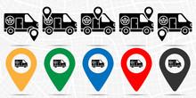 Pets, Ambulance Icon In Location Set. Simple Glyph, Flat Illustration Element Of Petshop Theme Icons