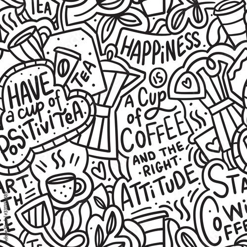 Tapety Industrialne  kawa-recznie-rysowane-doodle-wzor-do-pakowania-tekstylia-druk-doodle-nowoczesne-tlo-z-herbata-i-kawa
