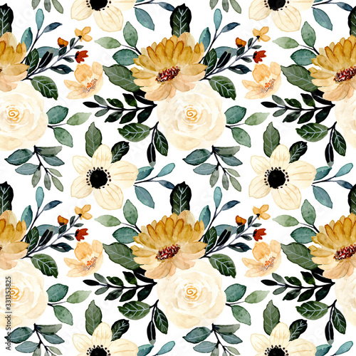Tapety do Garderoby  green-yellow-floral-watercolor-seamless-pattern