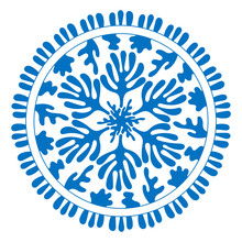 Sea Mandala. Stylized Corals And Algae, Stars. Abstract Hand Drawn Illustration Isolated On A White Background. Hand- Drawn Doodles For Your Design. Blue And White. Vector Illustration.