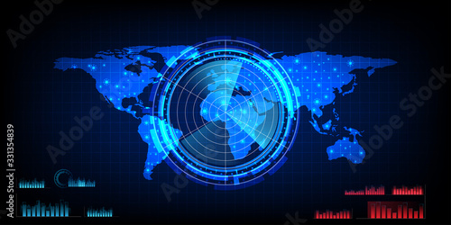 world map with a radar screen,digital blue radar with targets and world map usin Canvas Print
